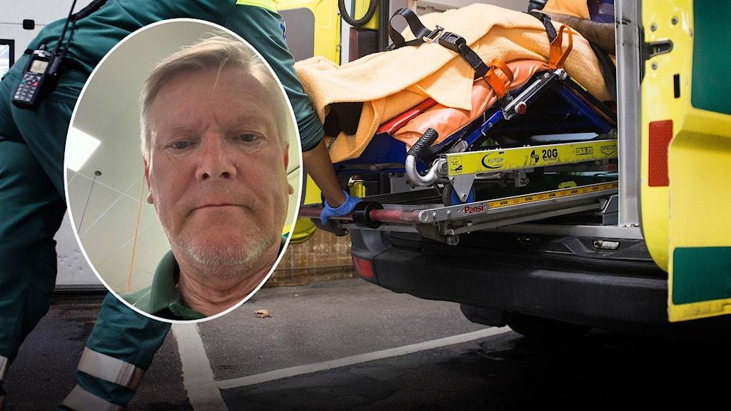 I bakgrunden syns en sjukvårdare som rullar in en bår med en patient på i en ambulans. I en infälld bild syns ambulsvårdaren Leif Jakobs.