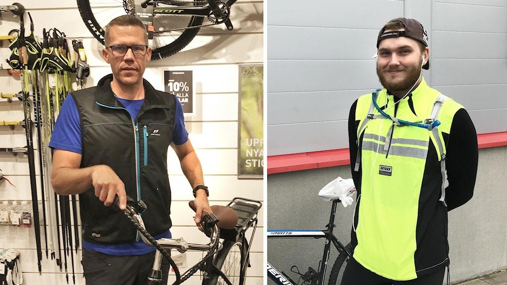 En man står vid en cykel i en butik. Samt en bild på en man i gul väst som står bredvid en cykel.