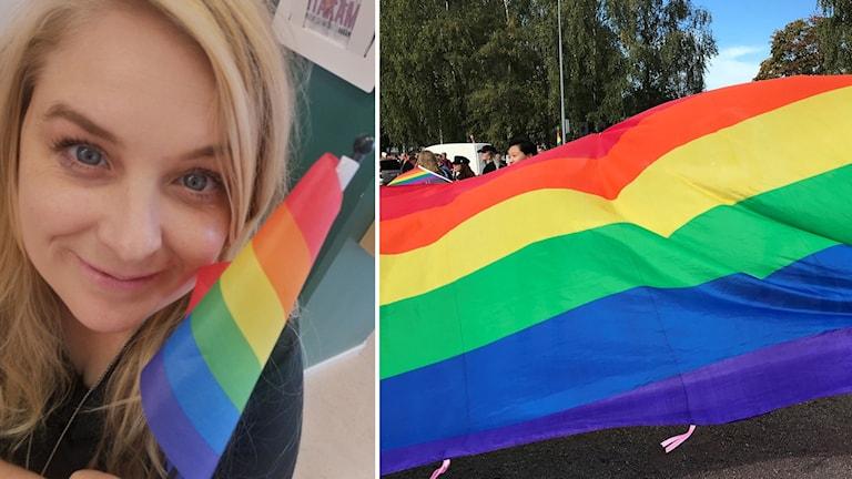 En kvinna med blont hår som håller i en prideflagga.
