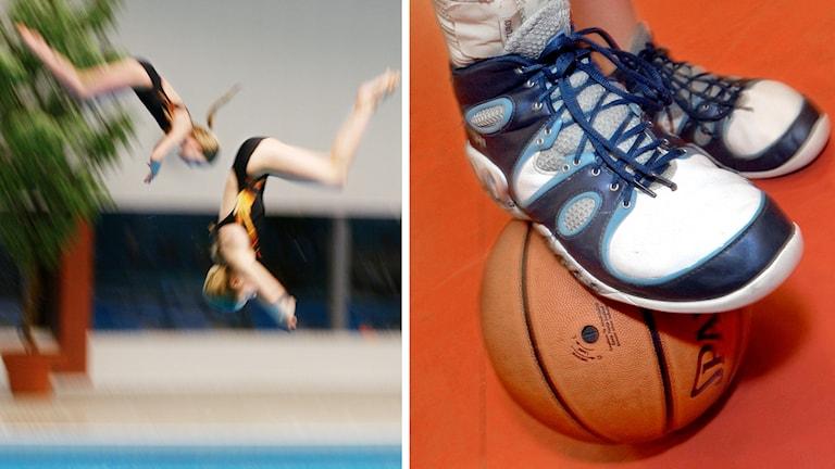 En bild på två simhoppare och en bild på en basketboll och ett par skor
