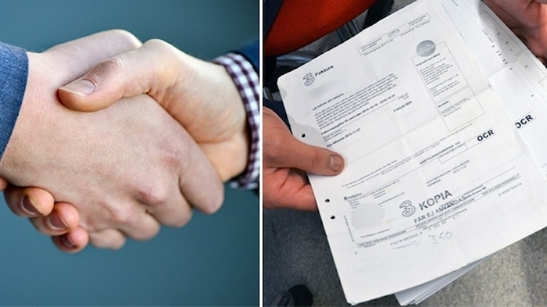 Två män skakar hand och en bunt med papper.