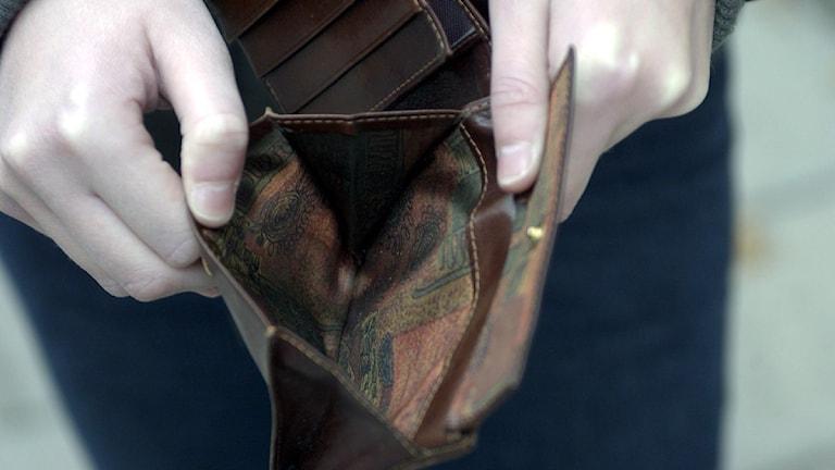 Tom plånbok. Foto Leif R Jansson, Scanpix.