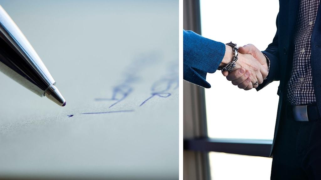 Pennspets och handskriven text på ett papper samt ett handslag mellan två personer.