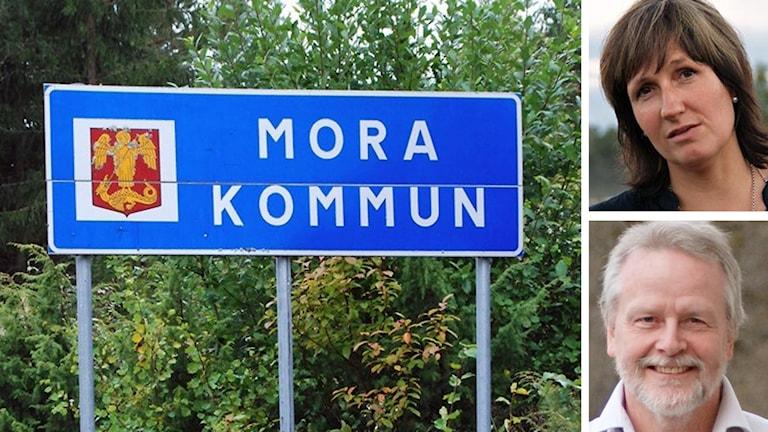 Moras kommunskylt och politikerna Anna Hed och Lennart Sohlberg