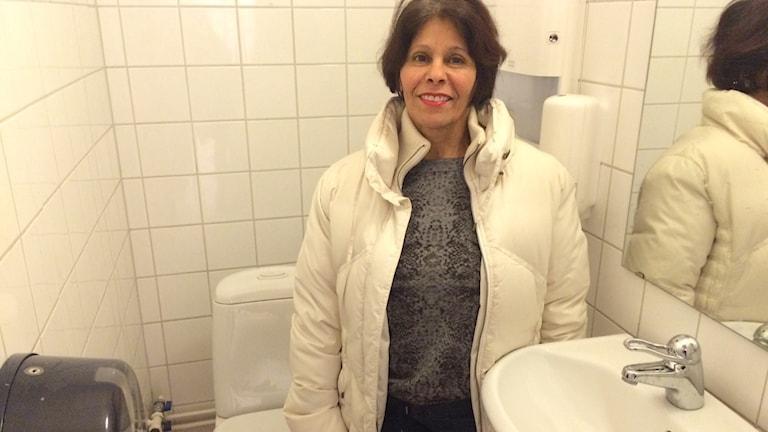 Katarina Gustavsson (KD) inne på en toalett.