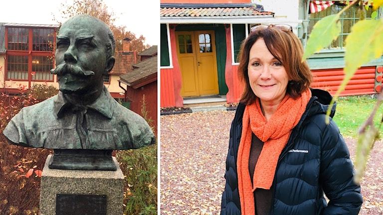 Till vänster en bild på en staty av konstnären Carl Larsson, till höger en bild på Chia Jonsson i mörk jacka och orange halsduk.