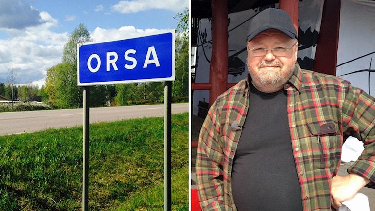 En bild på en vägskylt där det står Orsa och en annan bild på Kalle Moraeus framför en röd dörr.