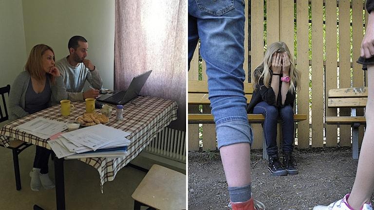 Två bilder, ena bilden på föräldrar andra bilden på mobbning.