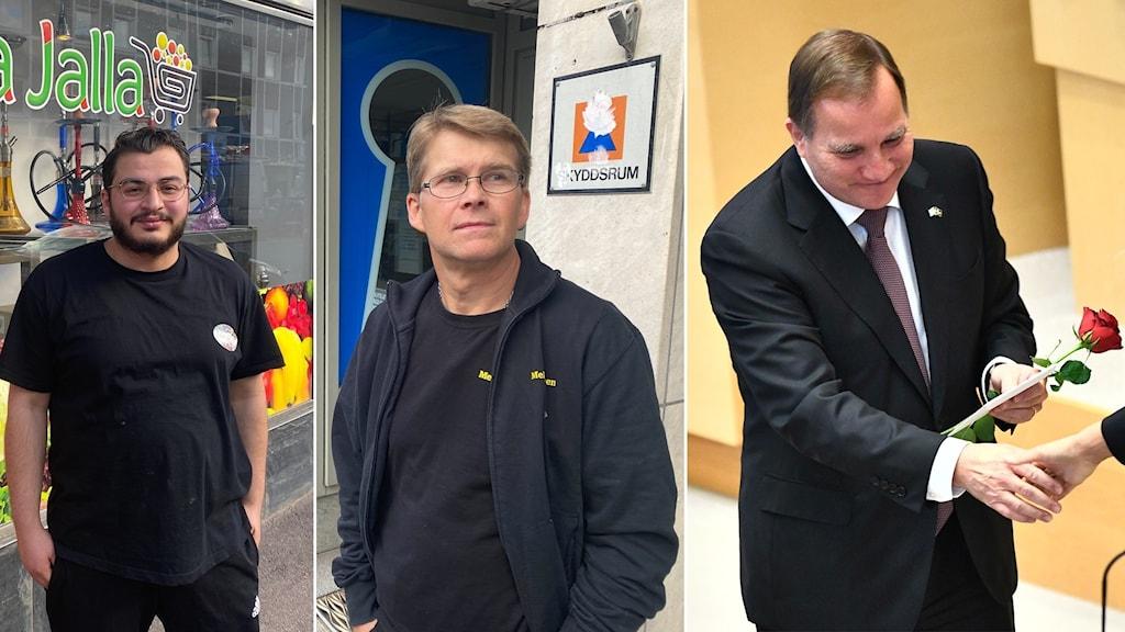 Till vänster står Darek, i mitten Lasse och till höger Stefan Löfven.