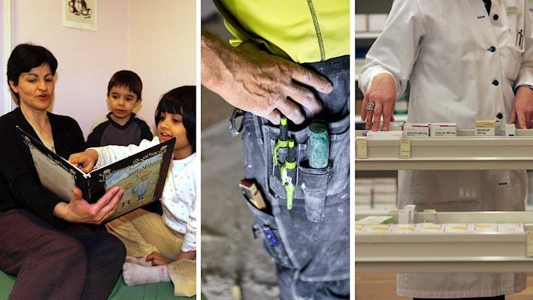 Tre bilder på dels kvinna som läser för två barn, dels närbild på hand på snickarbyxor med verktyg, dels vitklädd person som plockar med mediciner.