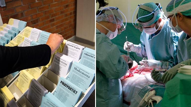 En hand tar en valsedel i ett ställ och tre personer står i operationskläder runt en patient på operation.