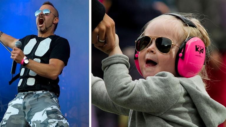 En bild på Sabatons sångare Joakim Brodén och ett barn med hörselkåpa på sig