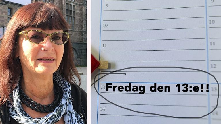 Lena och en bild på en almanacka med fredag den 13:e inringat