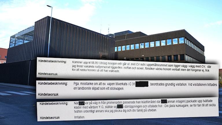 Häktet i Falun och urklipp från incidentrapporter