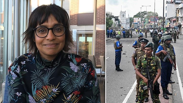 En kvinna med glasögon och en infälld bild på poliser och militär i Sri Lanka