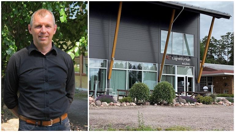 En delad bild som visar region Dalarnas tillförordnade regionchef Lars-Olof Björkqvist till vänster och Lugnetkyrkans byggnad till höger
