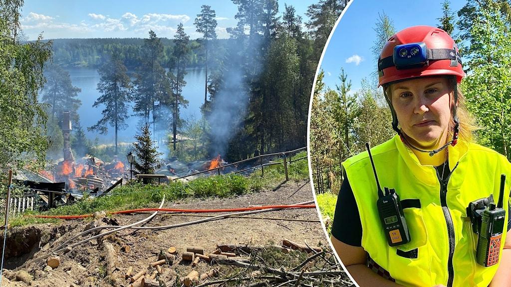Maja Norling, räddningsledare på plats vid branden.