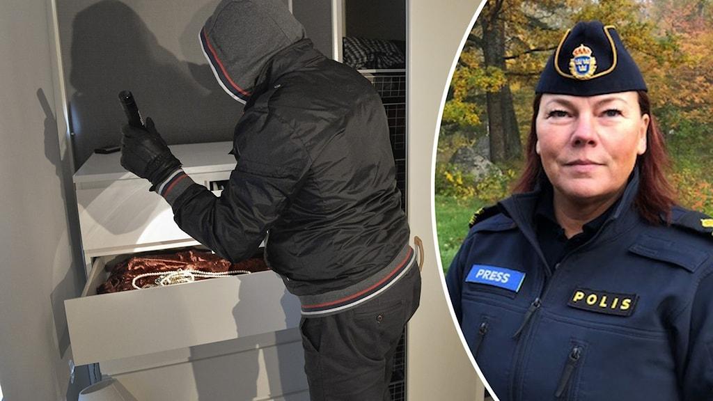En maskerad man som söker igenom en byrå och en infälld bild av en kvinna i polisuniform.