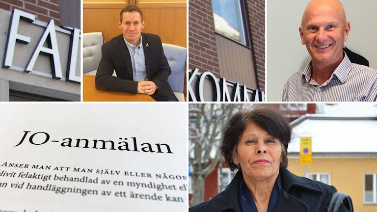 Ett bildmontage av bilder på kristdemokraten Katarina Gustavsson, tillförordnade kommundirektören Kjell Nyström, före detta kommundirektören Dan Nygren, en JO-anmälan.