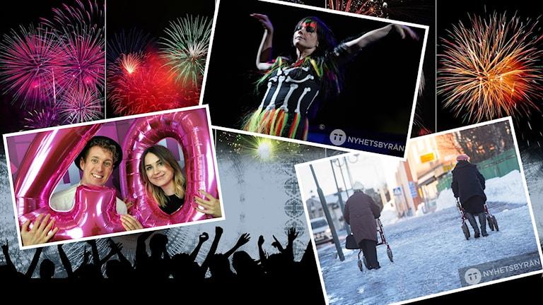 Bildkollage med bilder på fyrverkerier, artisten Björk, pensionärer med rullator och P4 Dalarnas programledare Emma och Martin.