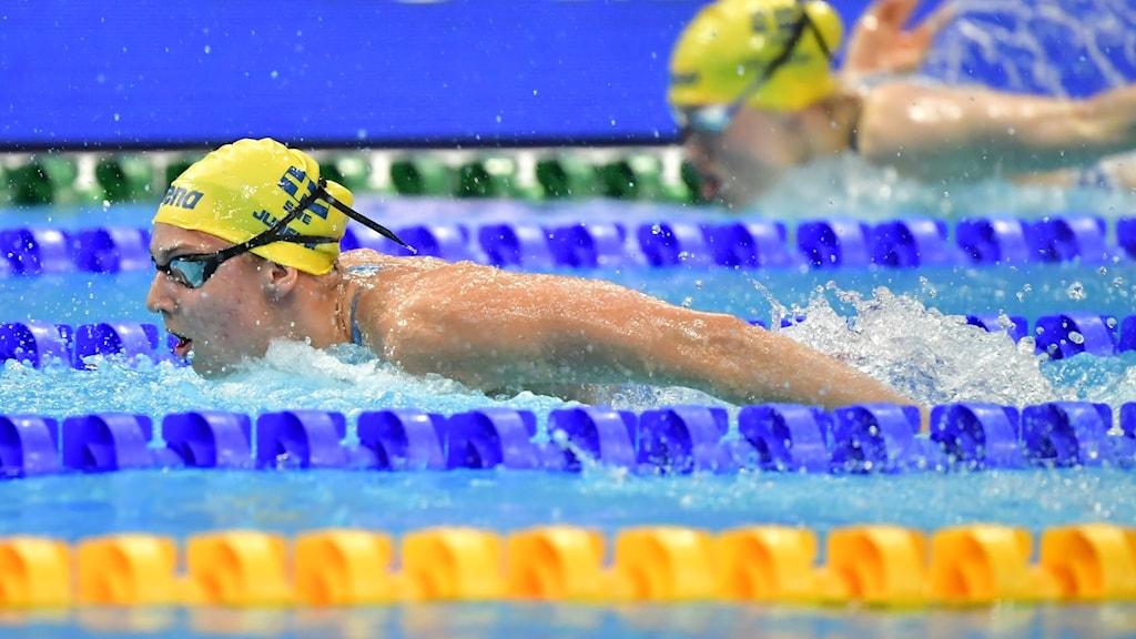 En kvinna som simmar i en bassäng.
