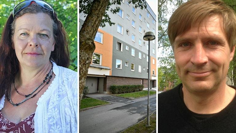 Gunilla Berglund och Lars Isacsson och en bild på ett lägenhetshus