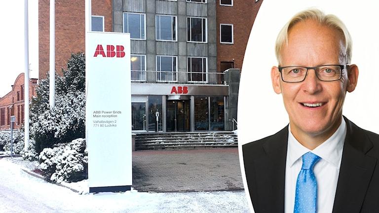 Entre i stål och glas till tegelhus som tillhör Power Grids, samt infälld bild på ABB Sveriges vd, Johan Söderström.