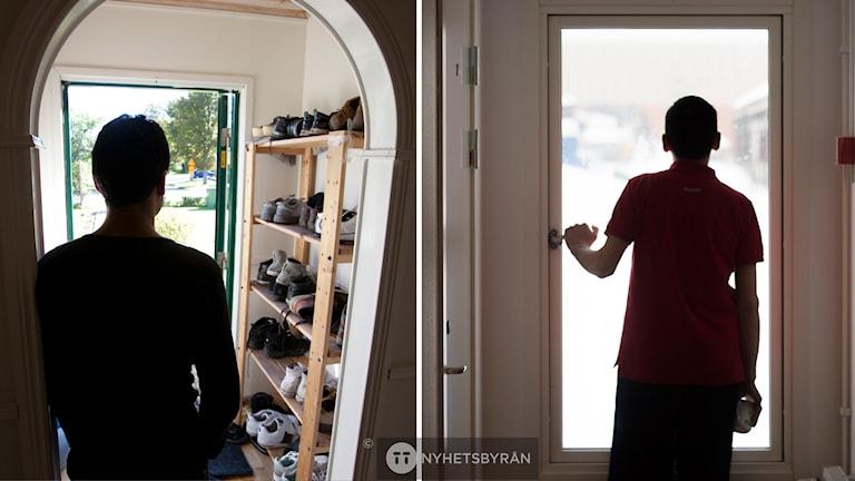 Bilden visar silhuetter av två personer som står i dörröppningar.