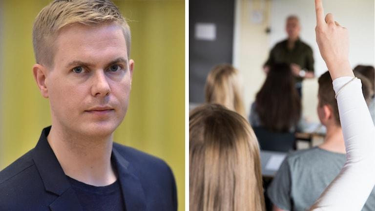 Gustav Fridolin och ett klassrum med elever och lärare