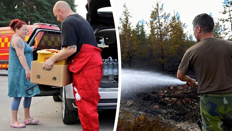 Bild på person som bär kartonger ur en bil och bild på person som sprutar vatten på bränd skog.