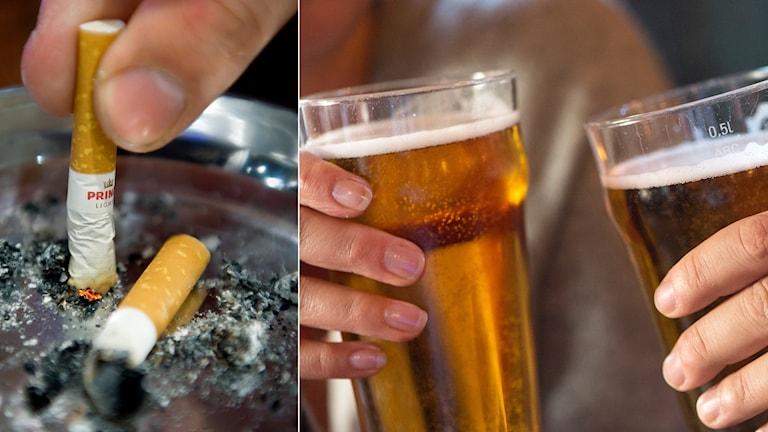 En cigarett som fimpas och två personer skålar i ölglas.