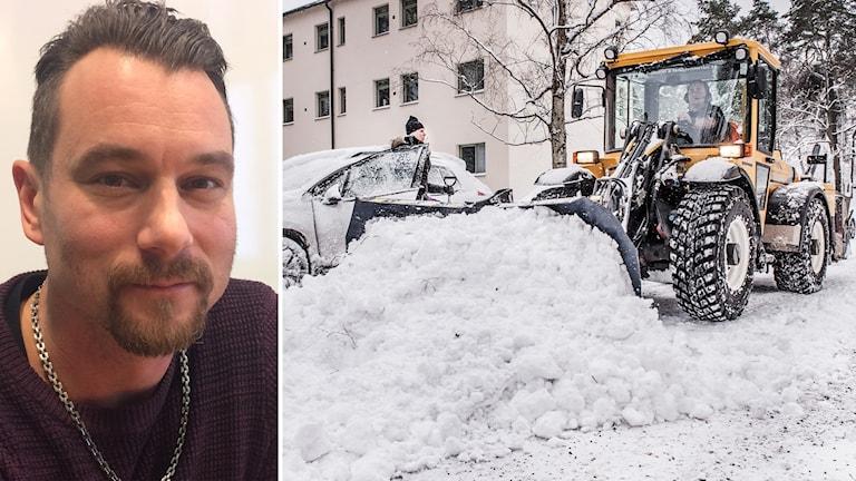 Montage av bild på Nicklas Karlsson, gatuchef Falu kommun och en plogbil.