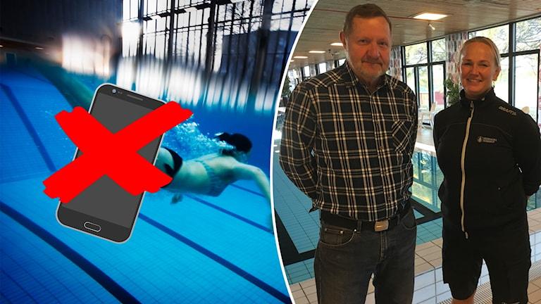 En person som simmar under vattnet och Anders Nilsson, Simräddningssällskapet i Dalarna, och Sofia Berglund som jobbar i simhallen i Hedemora.