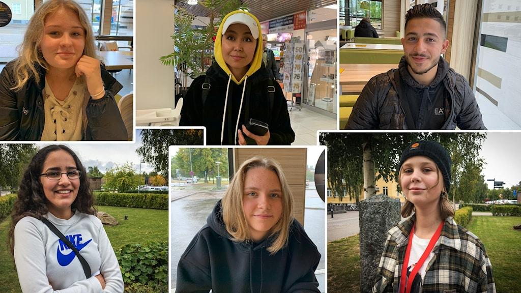 Kollage av bilder på ungdomarna Lisa Wåhlbacken, Bodoor Mohamed, Yasmine Khadimi, Elsa Andersson, Adam Guli och Frida Ohlsson.