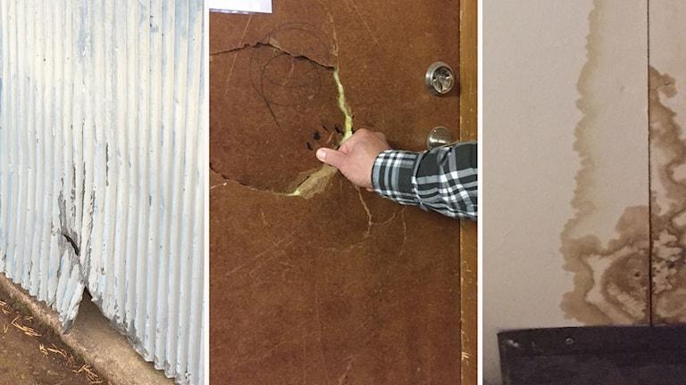 Trasiga plåtstaket och dörrar och fläckar på  Nyhedsskolan.