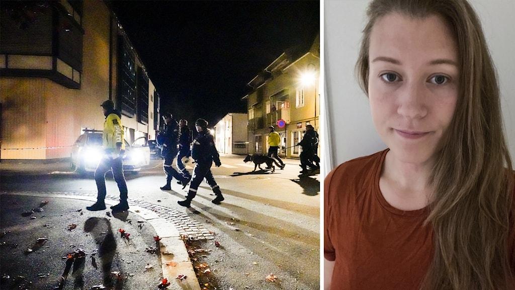 Flera poliser går på en gata under nattetid. Samt en bild på en kvinna i långt hår och röd t-shirt.
