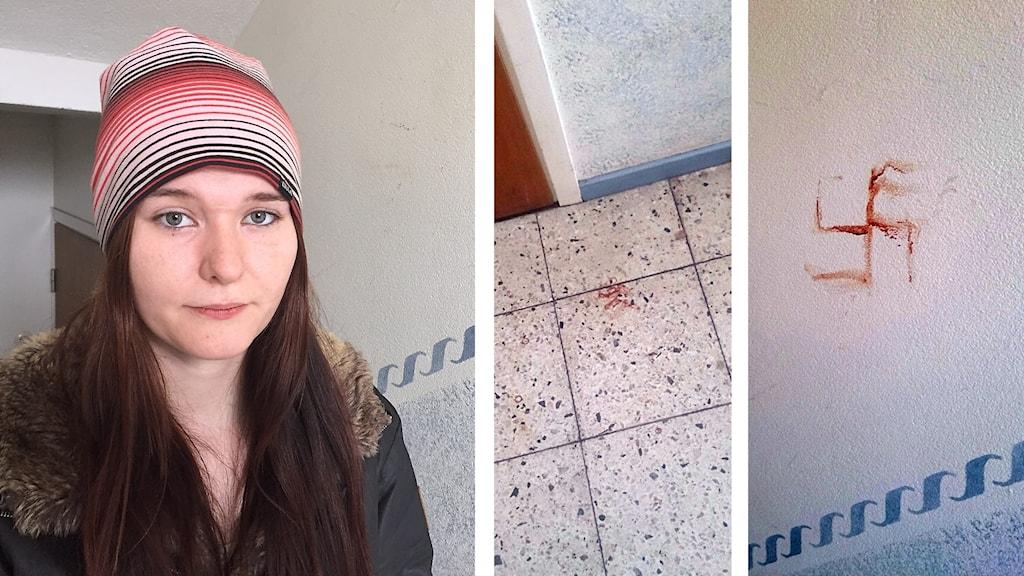 Montage av bilder på dels en kvinna med allvarlig min, dels röda spår på ett trappgolv, dels ett hakkors målat i rött på en vägg.