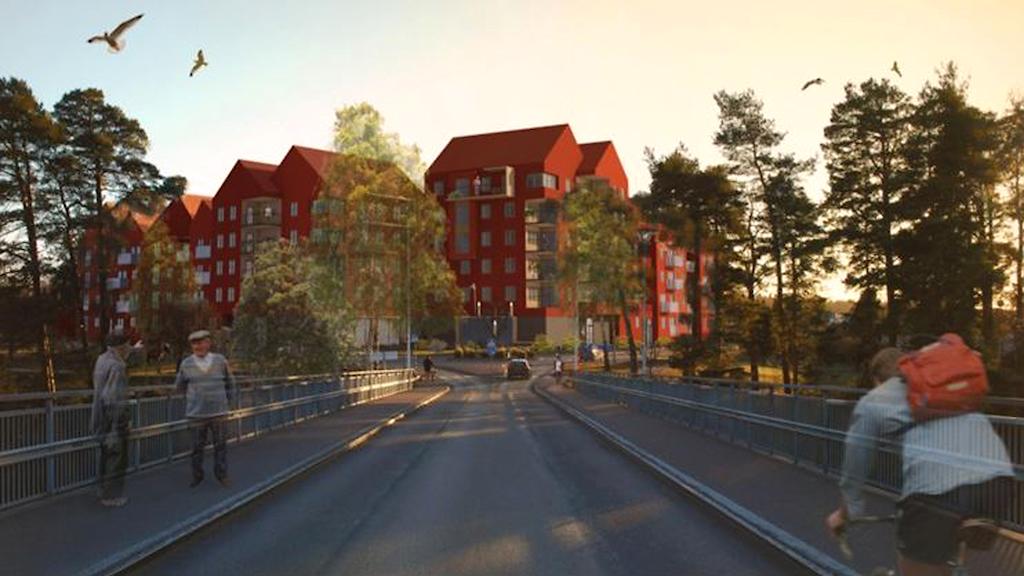 Illustration av faluröda sexvåningshus vid Åkeröbron i Leksand.