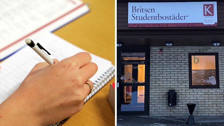 En person som skriver i ett block och entrén till Britsen studentbostäder i Falun.