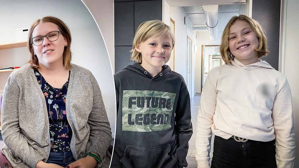 På bilden till vänster sitter läraren Lina, hon har på sig en blommig tröja och en brun kofta över. På bilden till höger står Thelma Åkerström hon har blont hår och en grå tjocktröja. Till höger står Alva Sewerlid, hon har på sig en vit tjocktröja.