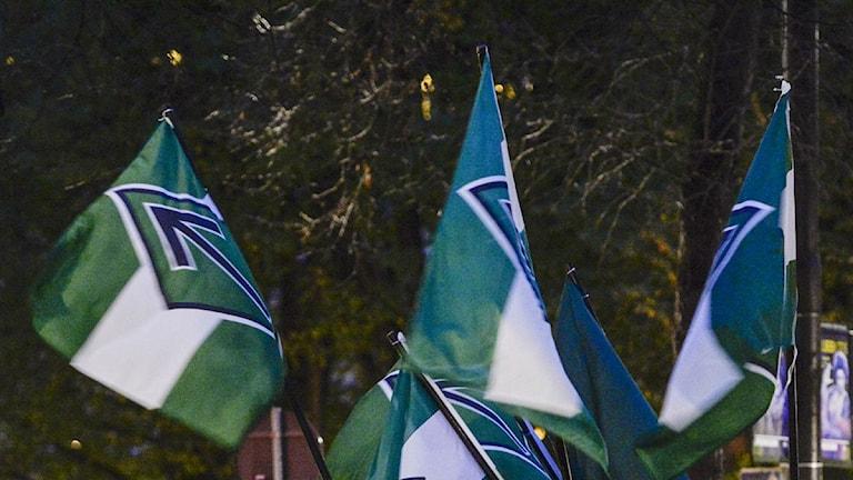 Svenska motståndsrörelsens flagga. foto: Jessica Gow/TT