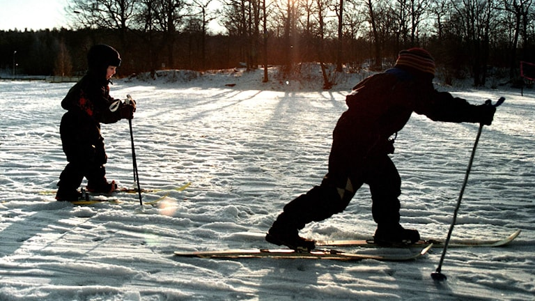 Två barn åker längdskidor i motljus.