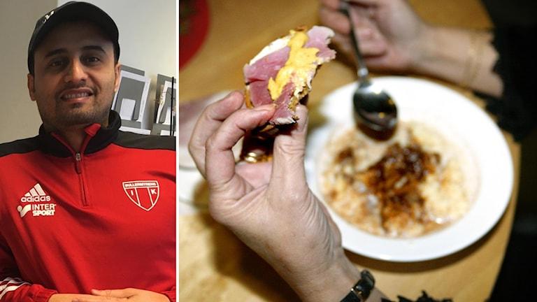 Tarak Malak och en person som sitter och äter