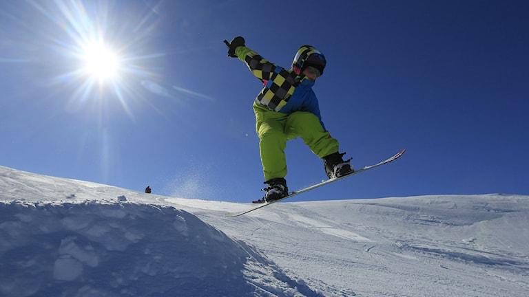 Barn åker snowboard i skidbacke. Foto: Jon Eeg/TT