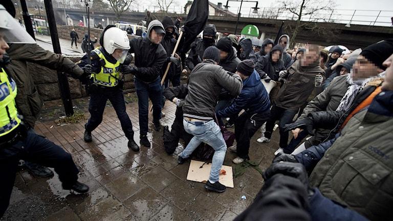 Nazistattacken i Kärrtorp. Foto:  Hampus Andersson / TT
