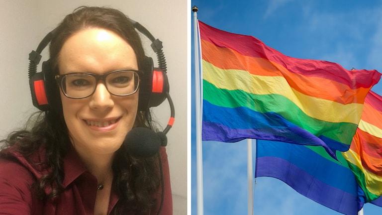 Alexandra Larsson och en prideflagga