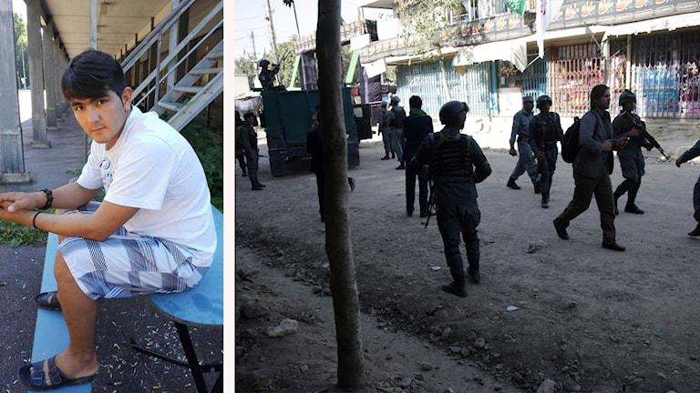 Basir Sharifi och en bild på soldater i Kabul