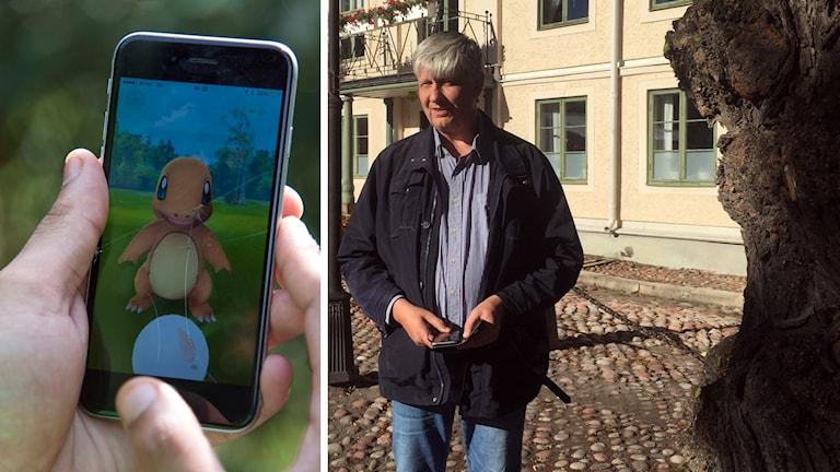 En mobil som någon spelar Pokemon Go på och Hedemoras socialdemokratiska kommunalråd Ulf Hansson.