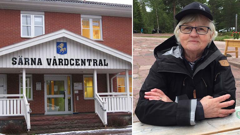 """En ingång till ett hus med en skylt där det står """"Särna vårdcentral"""" och en infälld bild på en äldre kvinna i glasögon och svart keps och jacka."""