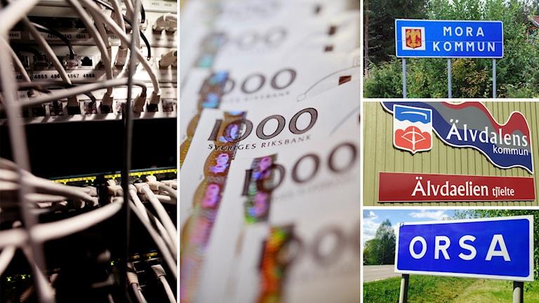 Montage av bilder på pengar, fiberkablar, samt Mora, Orsa och Älvdalens kommunskylt.
